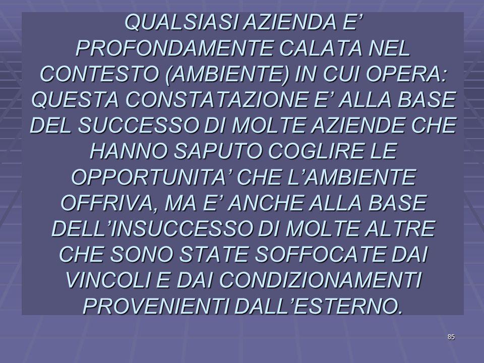 QUALSIASI AZIENDA E' PROFONDAMENTE CALATA NEL CONTESTO (AMBIENTE) IN CUI OPERA: QUESTA CONSTATAZIONE E' ALLA BASE DEL SUCCESSO DI MOLTE AZIENDE CHE HANNO SAPUTO COGLIRE LE OPPORTUNITA' CHE L'AMBIENTE OFFRIVA, MA E' ANCHE ALLA BASE DELL'INSUCCESSO DI MOLTE ALTRE CHE SONO STATE SOFFOCATE DAI VINCOLI E DAI CONDIZIONAMENTI PROVENIENTI DALL'ESTERNO.