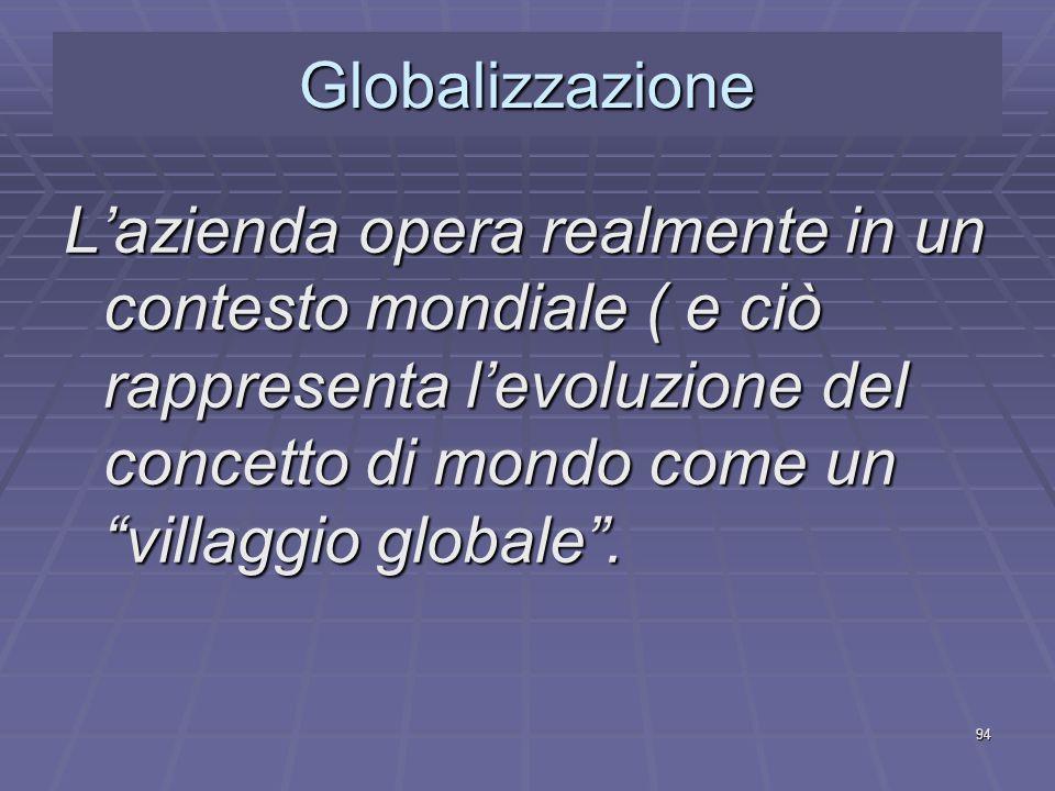 Globalizzazione L'azienda opera realmente in un contesto mondiale ( e ciò rappresenta l'evoluzione del concetto di mondo come un villaggio globale .