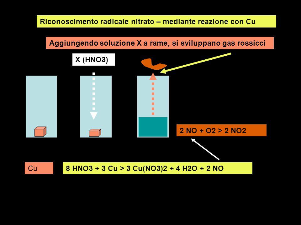 Riconoscimento radicale nitrato – mediante reazione con Cu