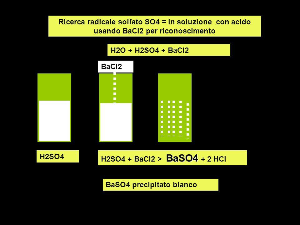 Ricerca radicale solfato SO4 = in soluzione con acido usando BaCl2 per riconoscimento