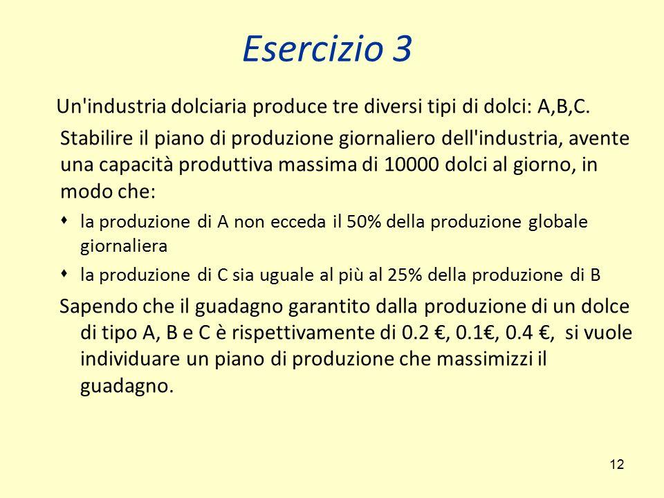 Esercizio 3 Un industria dolciaria produce tre diversi tipi di dolci: A,B,C.