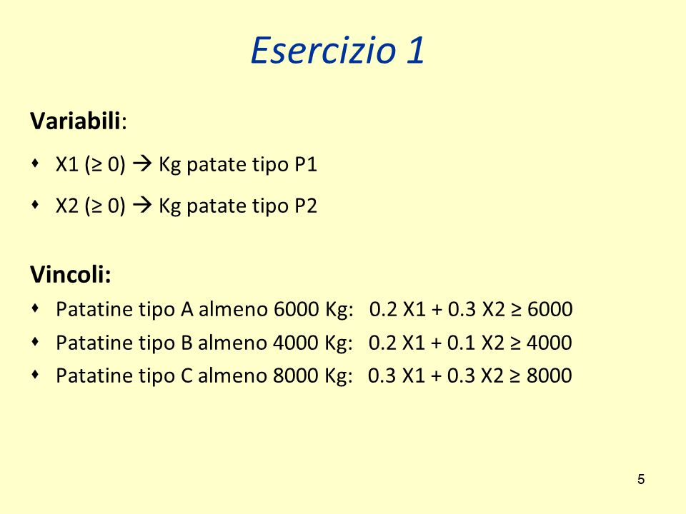 Esercizio 1 Variabili: Vincoli: X1 (≥ 0)  Kg patate tipo P1