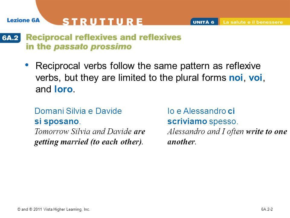 Reciprocal verbs follow the same pattern as reflexive verbs, but they are limited to the plural forms noi, voi, and loro.