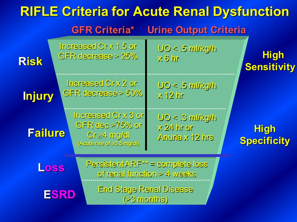 RIFLE Criteria for Acute Renal Dysfunction