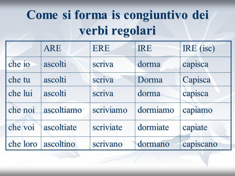 Come si forma is congiuntivo dei verbi regolari