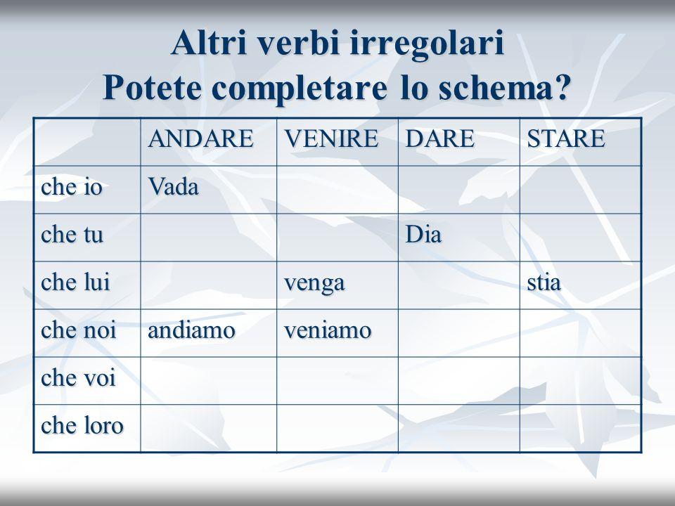 Altri verbi irregolari Potete completare lo schema