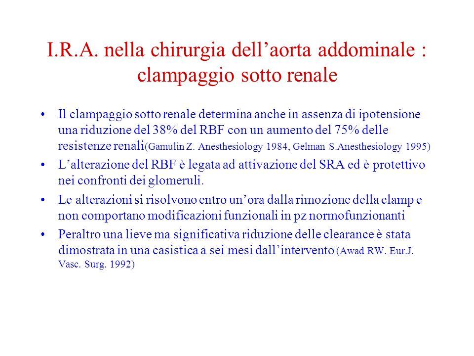 I.R.A. nella chirurgia dell'aorta addominale : clampaggio sotto renale