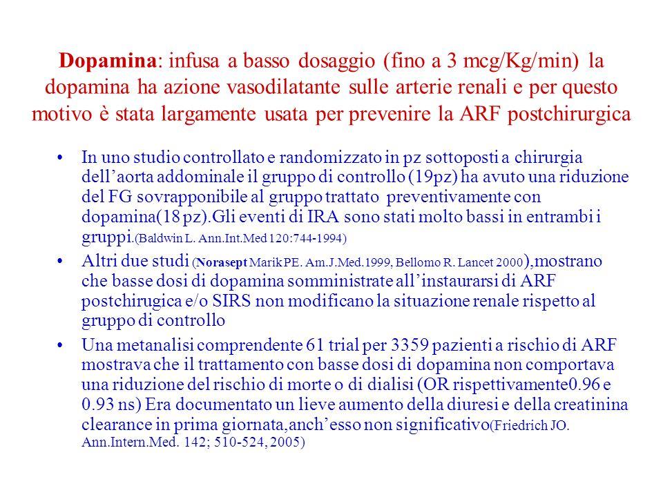 Dopamina: infusa a basso dosaggio (fino a 3 mcg/Kg/min) la dopamina ha azione vasodilatante sulle arterie renali e per questo motivo è stata largamente usata per prevenire la ARF postchirurgica