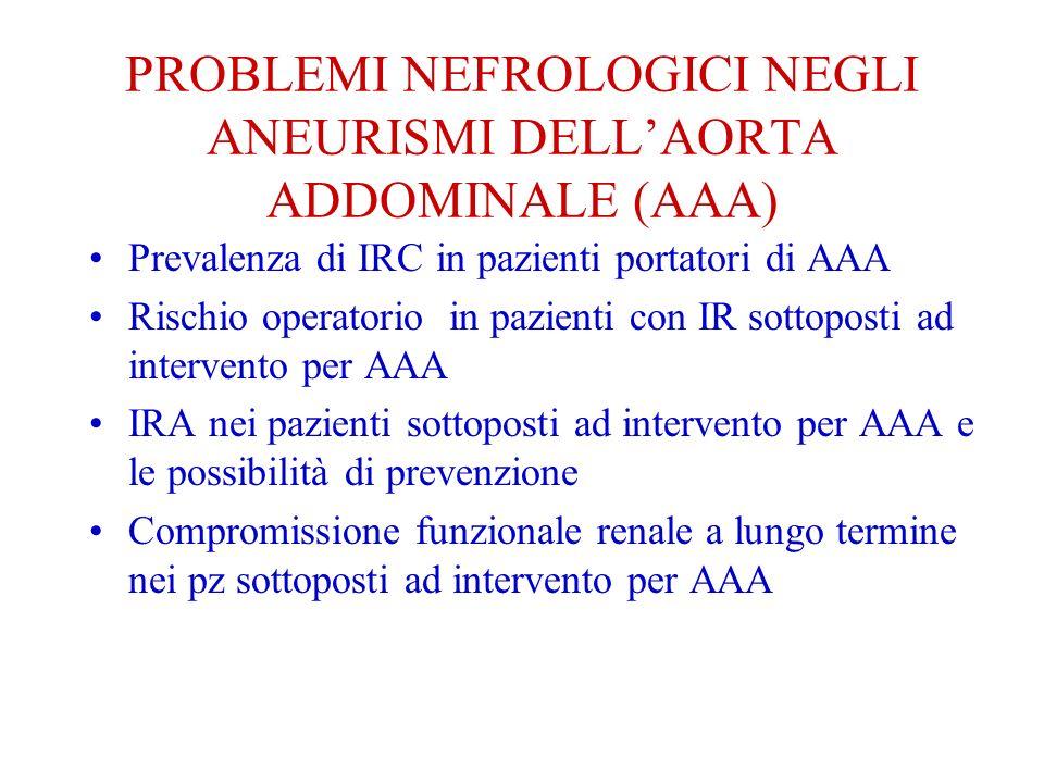 PROBLEMI NEFROLOGICI NEGLI ANEURISMI DELL'AORTA ADDOMINALE (AAA)