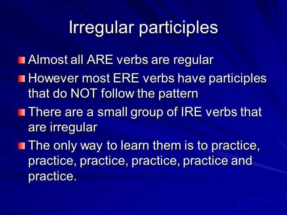 Irregular participles