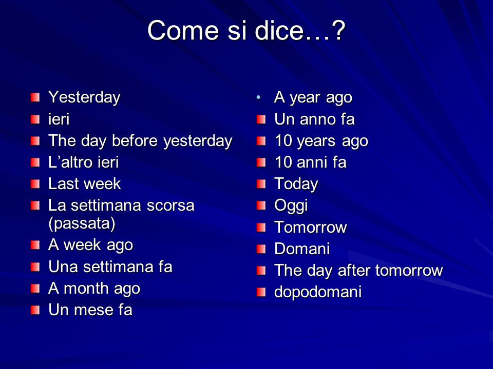 Come si dice… Yesterday ieri The day before yesterday L'altro ieri
