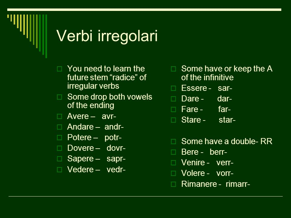 Verbi irregolari You need to learn the future stem radice of irregular verbs. Some drop both vowels of the ending.