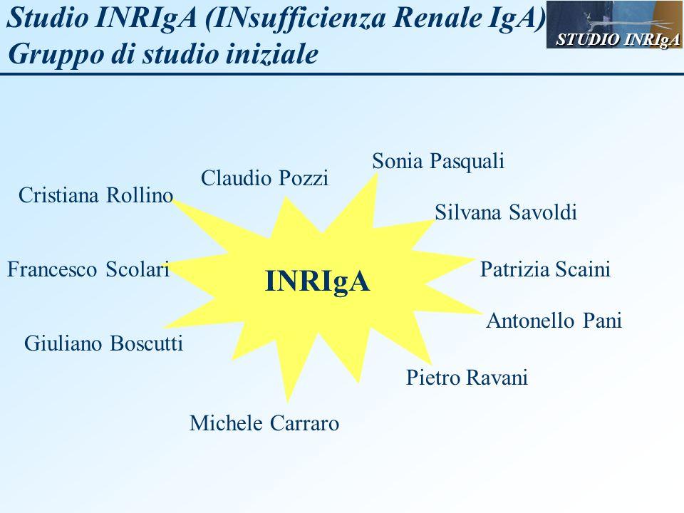 Studio INRIgA (INsufficienza Renale IgA) Gruppo di studio iniziale