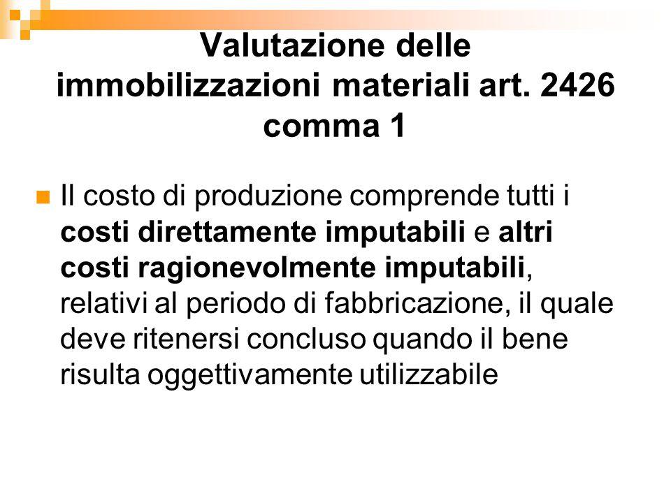 Valutazione delle immobilizzazioni materiali art. 2426 comma 1
