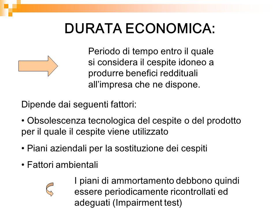 DURATA ECONOMICA: Periodo di tempo entro il quale si considera il cespite idoneo a produrre benefici reddituali all'impresa che ne dispone.