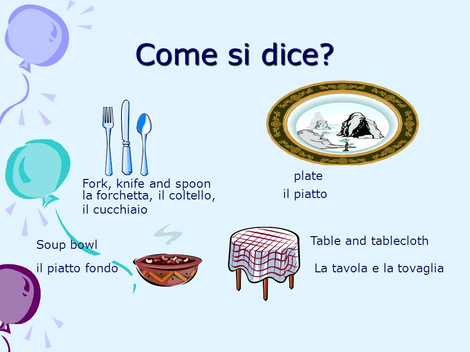 Come si dice plate Fork, knife and spoon la forchetta, il coltello,