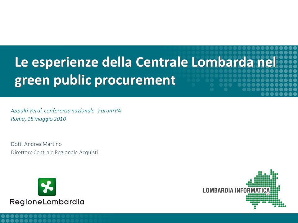 Le esperienze della Centrale Lombarda nel green public procurement