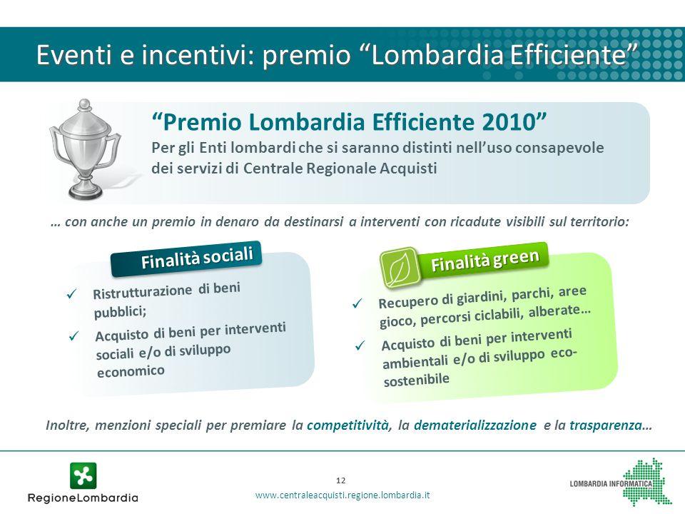 Eventi e incentivi: premio Lombardia Efficiente