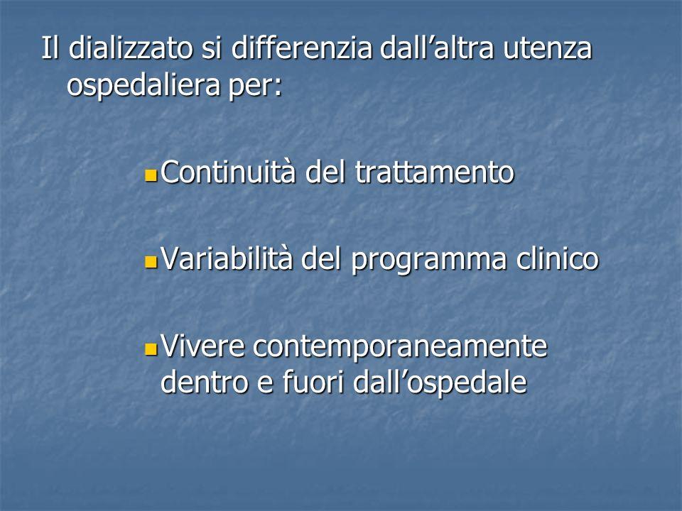 Il dializzato si differenzia dall'altra utenza ospedaliera per: