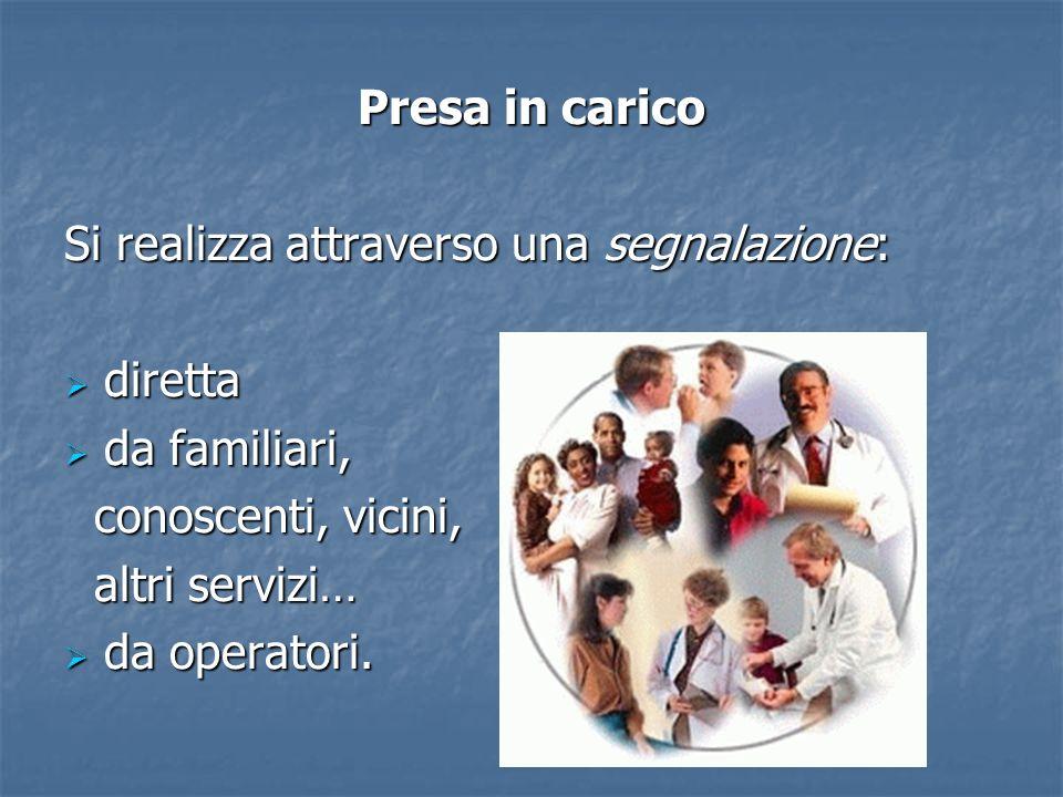 Presa in caricoSi realizza attraverso una segnalazione: diretta. da familiari, conoscenti, vicini, altri servizi…