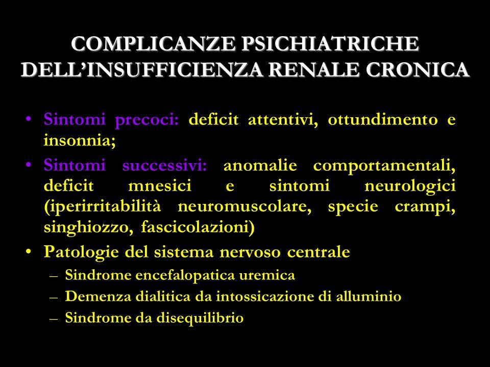 COMPLICANZE PSICHIATRICHE DELL'INSUFFICIENZA RENALE CRONICA