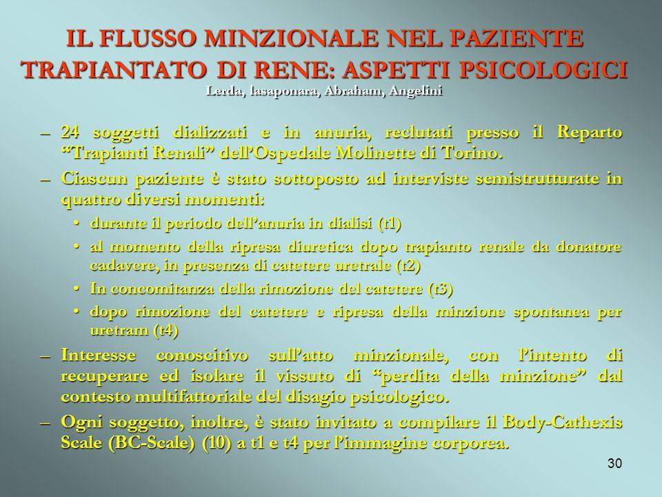 IL FLUSSO MINZIONALE NEL PAZIENTE TRAPIANTATO DI RENE: ASPETTI PSICOLOGICI