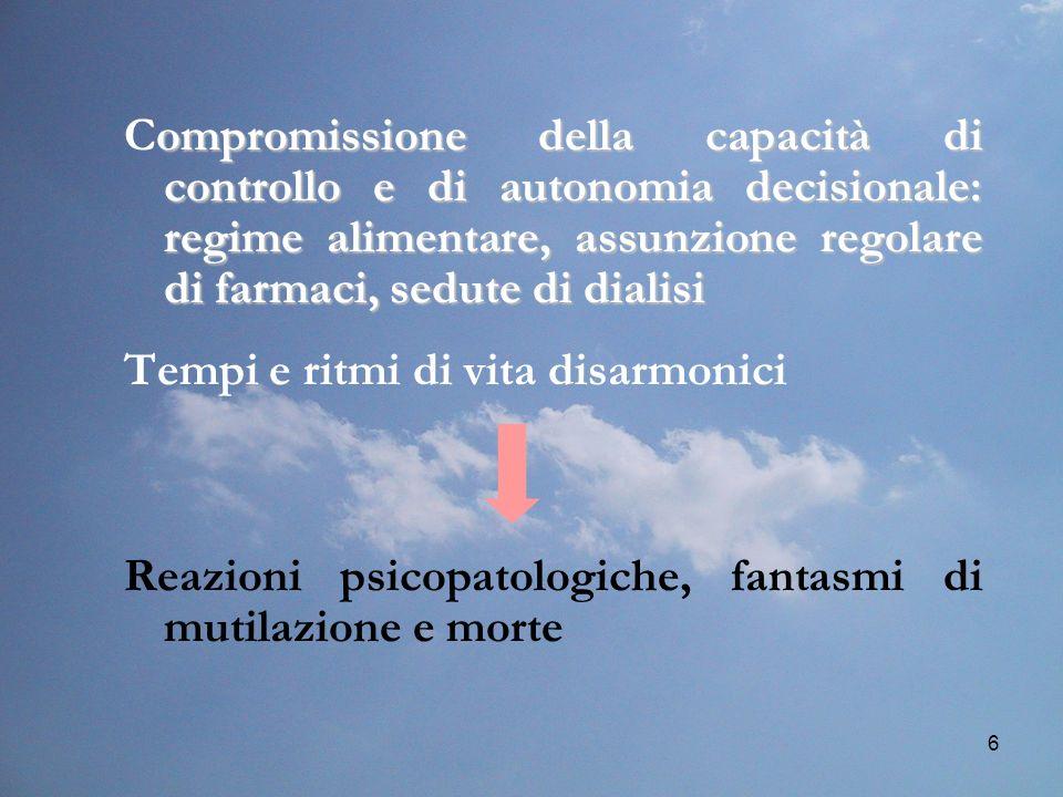 Compromissione della capacità di controllo e di autonomia decisionale: regime alimentare, assunzione regolare di farmaci, sedute di dialisi