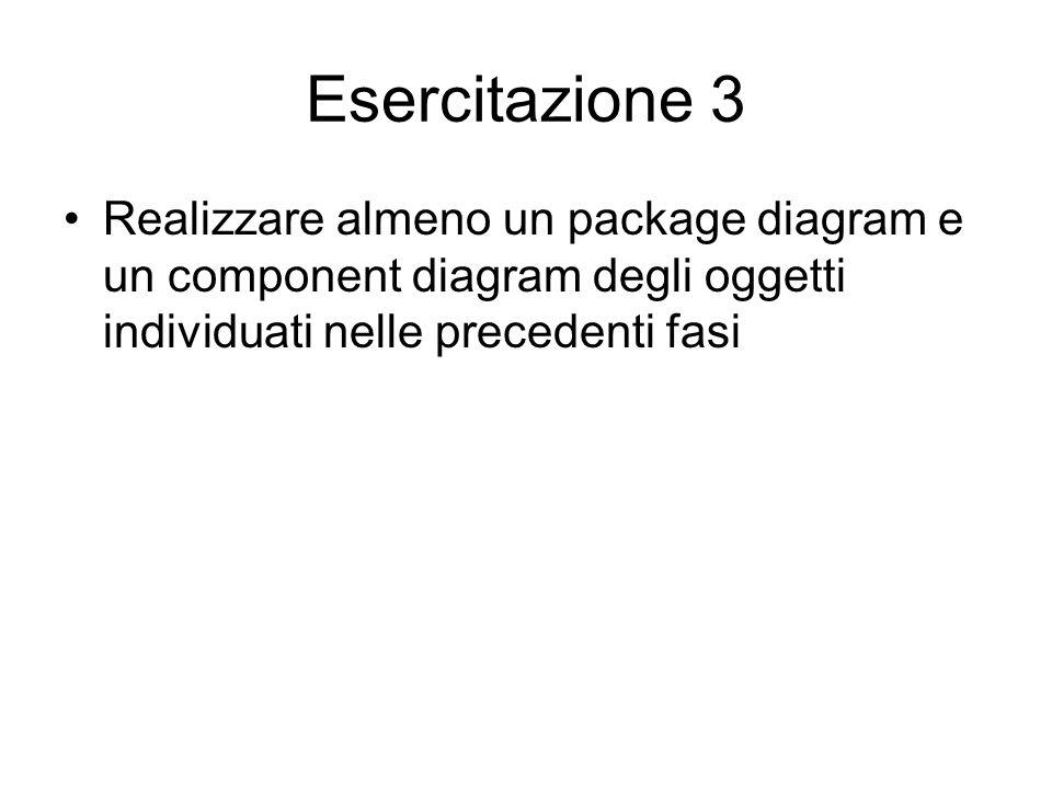 Esercitazione 3 Realizzare almeno un package diagram e un component diagram degli oggetti individuati nelle precedenti fasi.