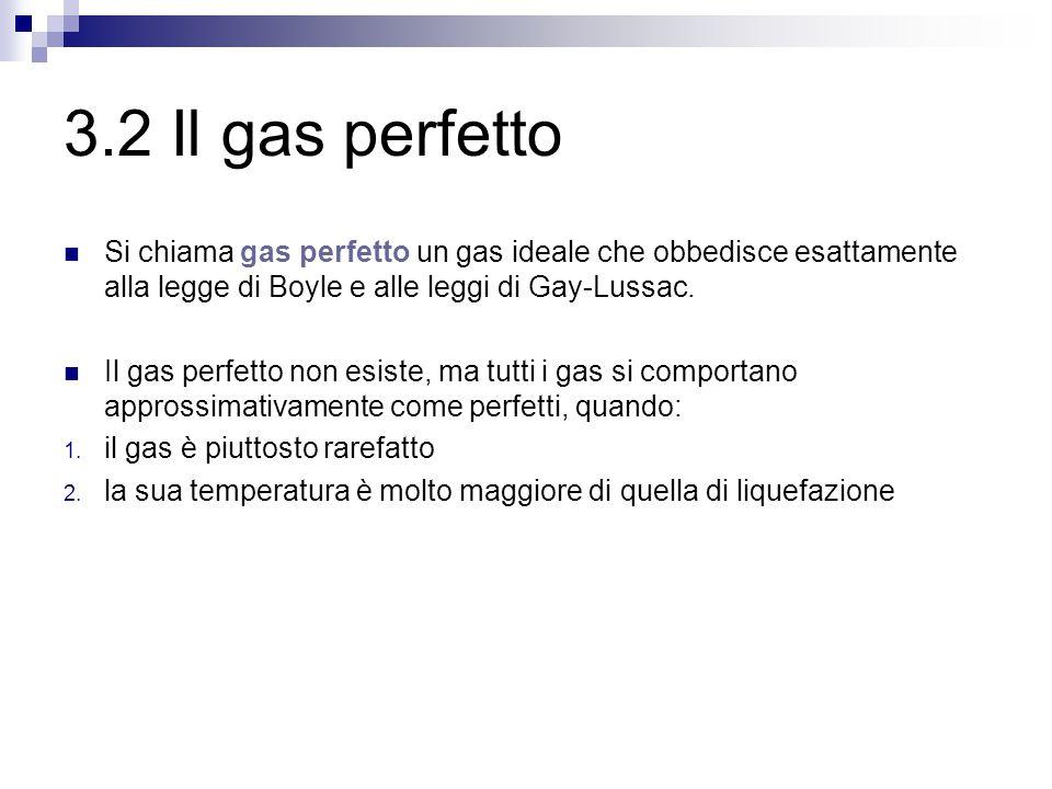 3.2 Il gas perfetto Si chiama gas perfetto un gas ideale che obbedisce esattamente alla legge di Boyle e alle leggi di Gay-Lussac.