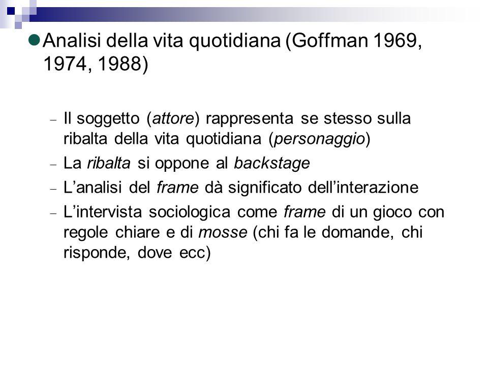 Analisi della vita quotidiana (Goffman 1969, 1974, 1988)