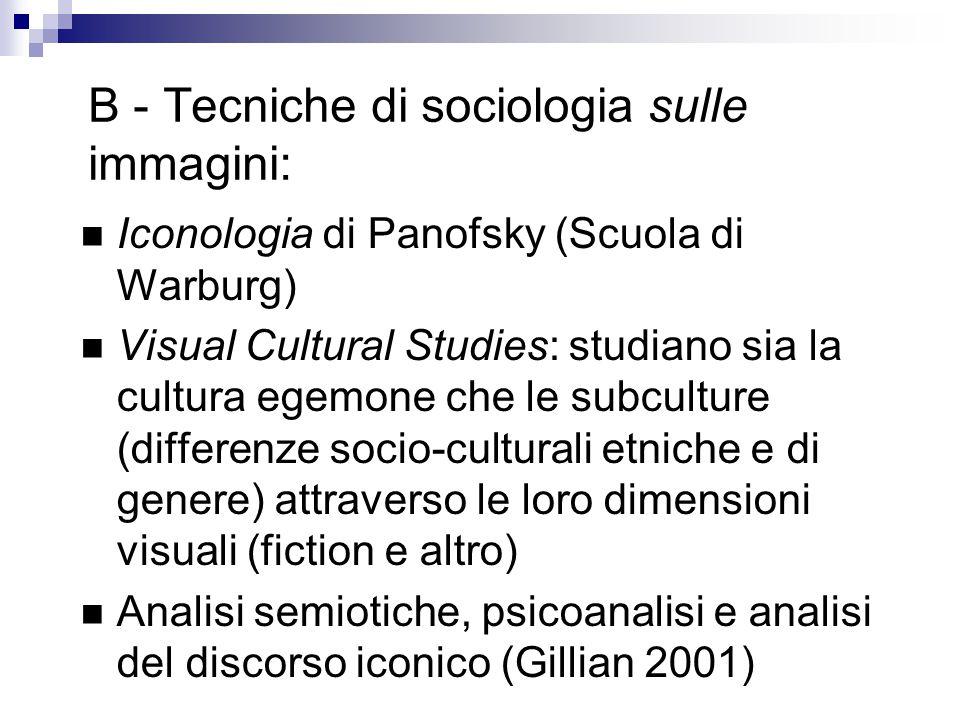 B - Tecniche di sociologia sulle immagini: