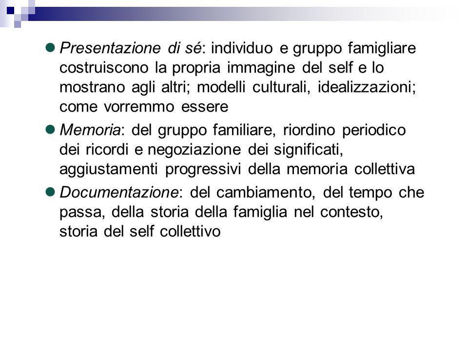 Presentazione di sé: individuo e gruppo famigliare costruiscono la propria immagine del self e lo mostrano agli altri; modelli culturali, idealizzazioni; come vorremmo essere
