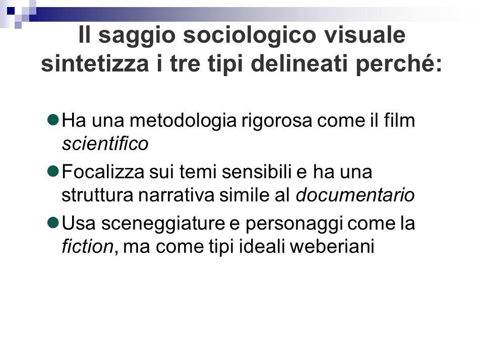 Il saggio sociologico visuale sintetizza i tre tipi delineati perché: