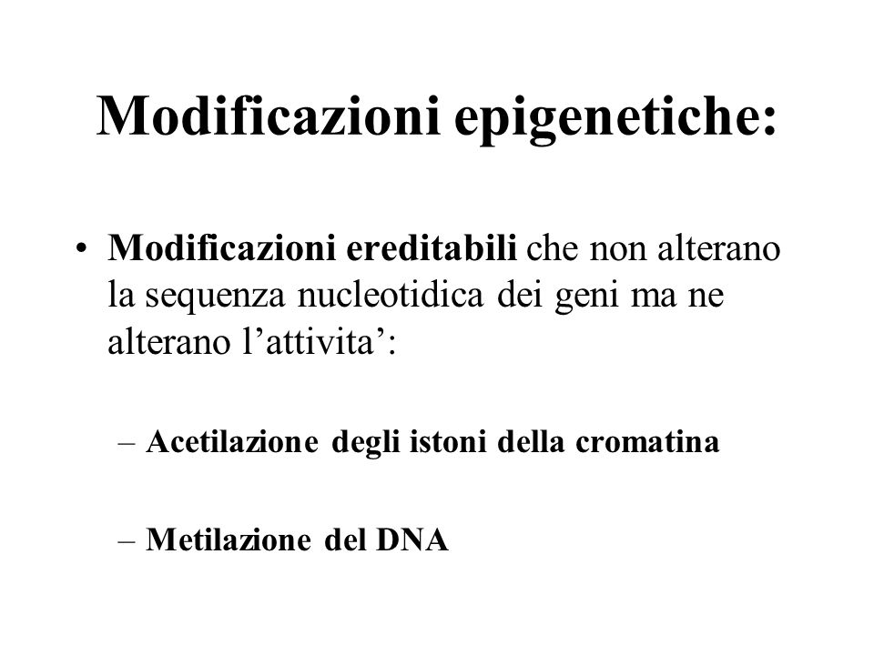 Modificazioni epigenetiche: