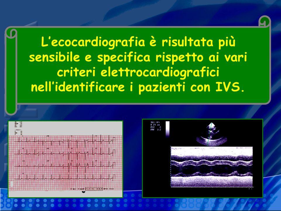 L'ecocardiografia è risultata più sensibile e specifica rispetto ai vari criteri elettrocardiografici nell'identificare i pazienti con IVS.