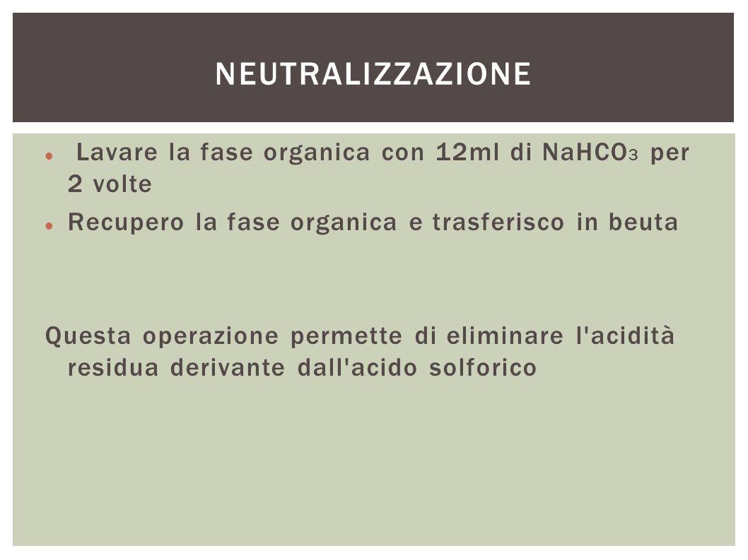 NEUTRALIZZAZIONE Lavare la fase organica con 12ml di NaHCO3 per 2 volte. Recupero la fase organica e trasferisco in beuta.