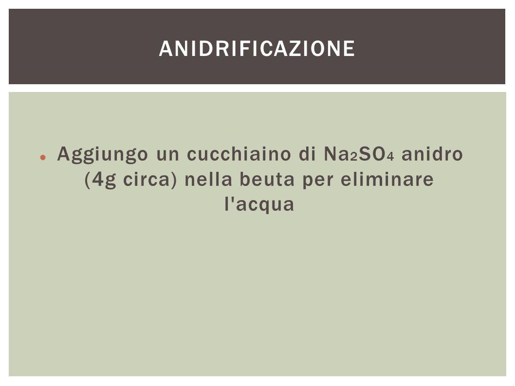 ANIDRIFICAZIONE Aggiungo un cucchiaino di Na2SO4 anidro (4g circa) nella beuta per eliminare l acqua.