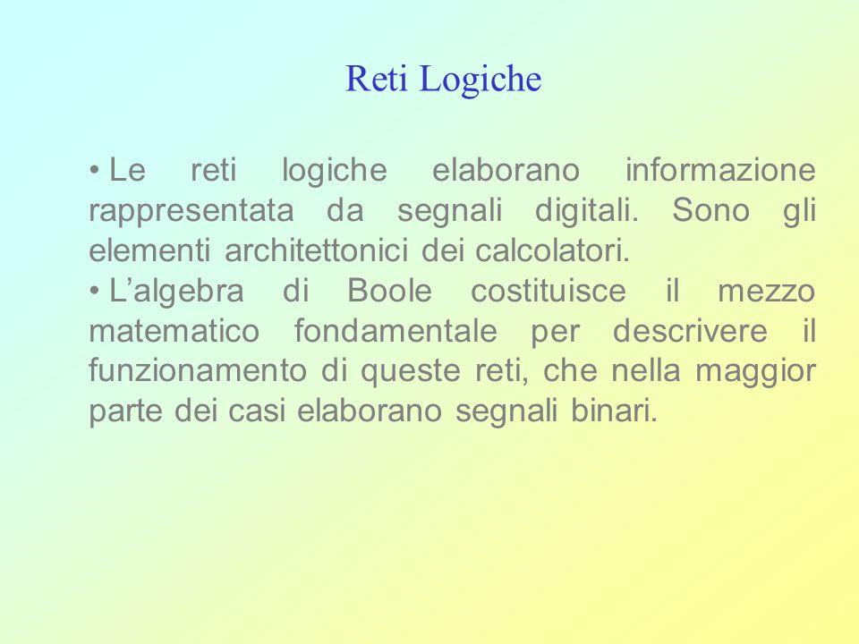 Reti Logiche Le reti logiche elaborano informazione rappresentata da segnali digitali. Sono gli elementi architettonici dei calcolatori.