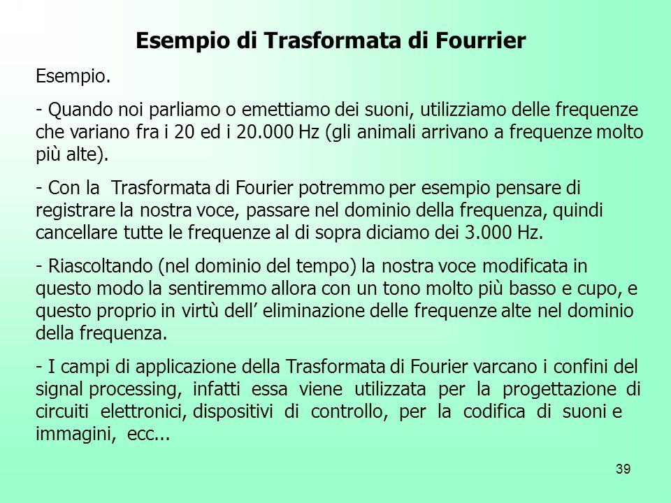 Esempio di Trasformata di Fourrier