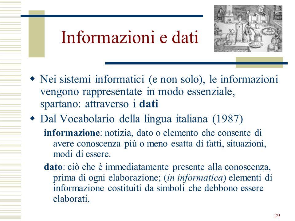Informazioni e dati Nei sistemi informatici (e non solo), le informazioni vengono rappresentate in modo essenziale, spartano: attraverso i dati.
