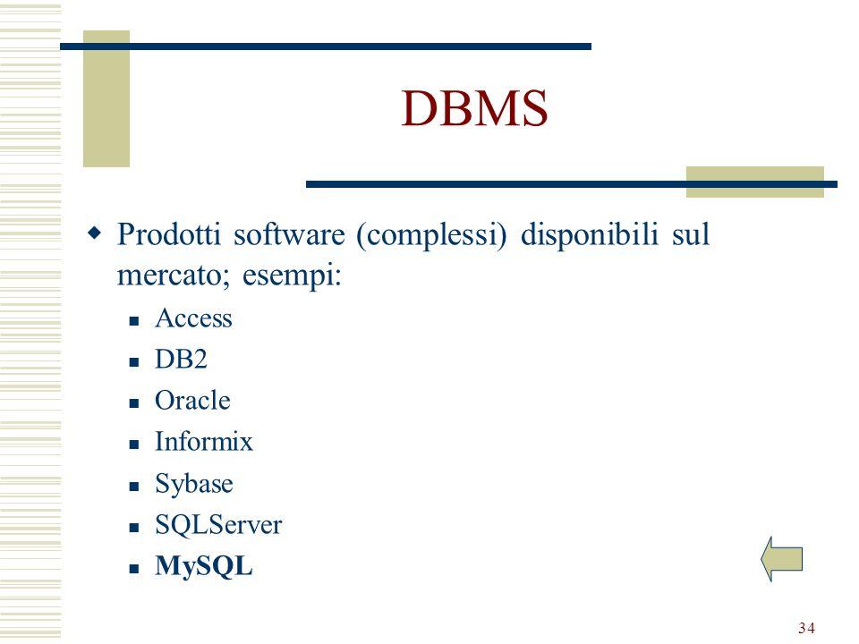 DBMS Prodotti software (complessi) disponibili sul mercato; esempi: