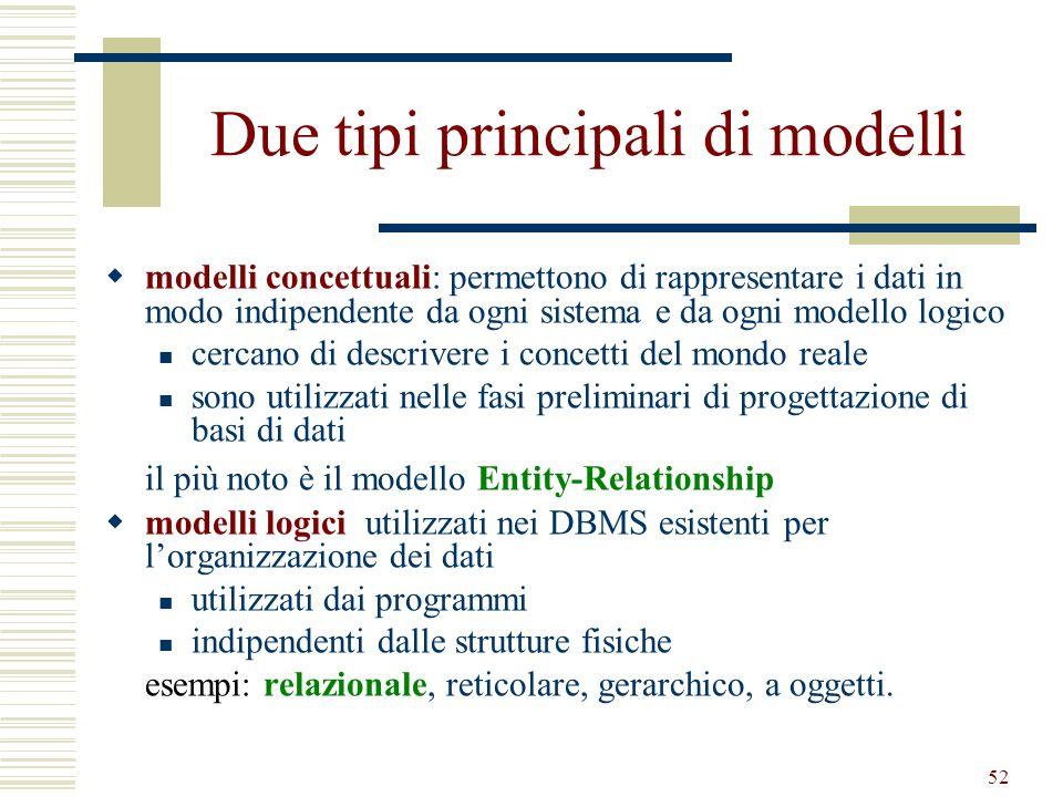 Due tipi principali di modelli