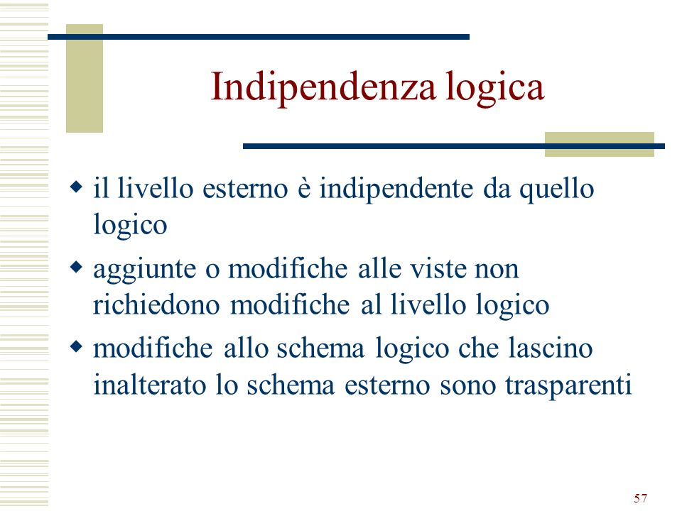 Indipendenza logica il livello esterno è indipendente da quello logico