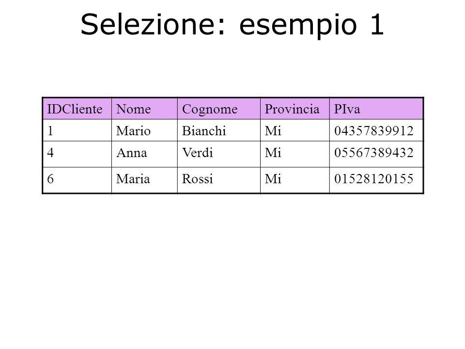 Selezione: esempio 1 IDCliente Nome Cognome Provincia PIva 1 Mario