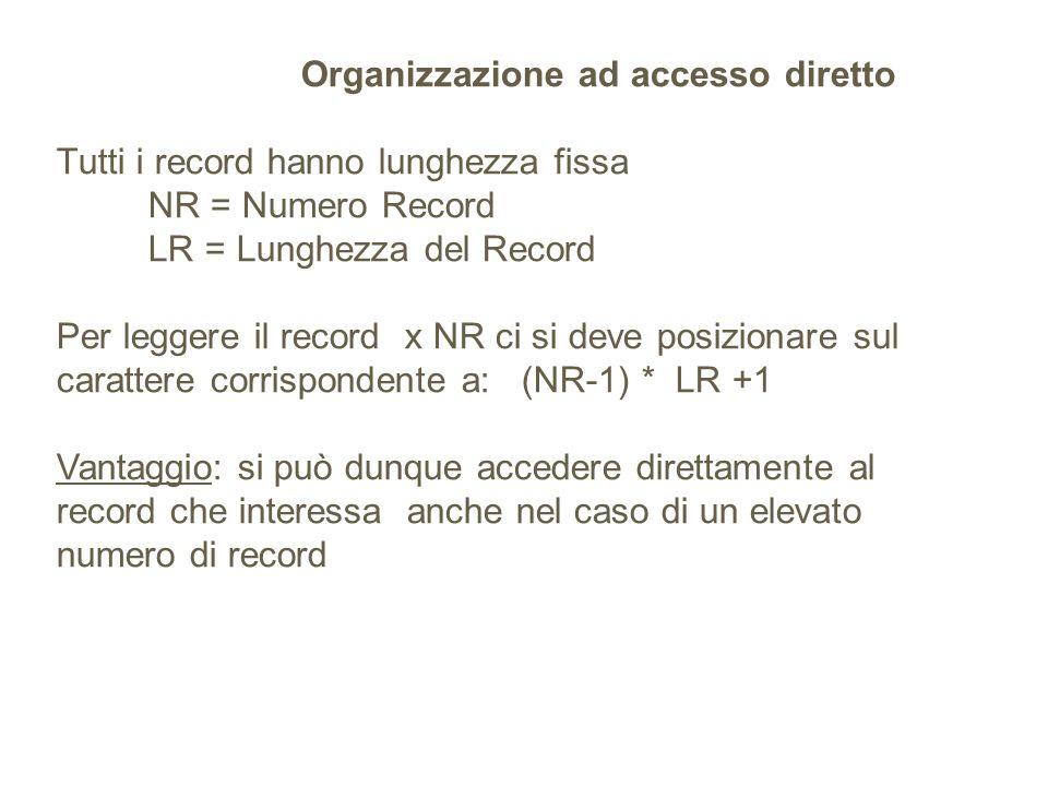 Organizzazione ad accesso diretto Tutti i record hanno lunghezza fissa NR = Numero Record LR = Lunghezza del Record Per leggere il record x NR ci si deve posizionare sul carattere corrispondente a: (NR-1) * LR +1 Vantaggio: si può dunque accedere direttamente al record che interessa anche nel caso di un elevato numero di record