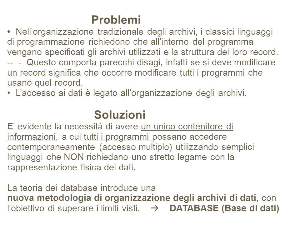 Problemi • Nell'organizzazione tradizionale degli archivi, i classici linguaggi di programmazione richiedono che all'interno del programma vengano specificati gli archivi utilizzati e la struttura dei loro record.