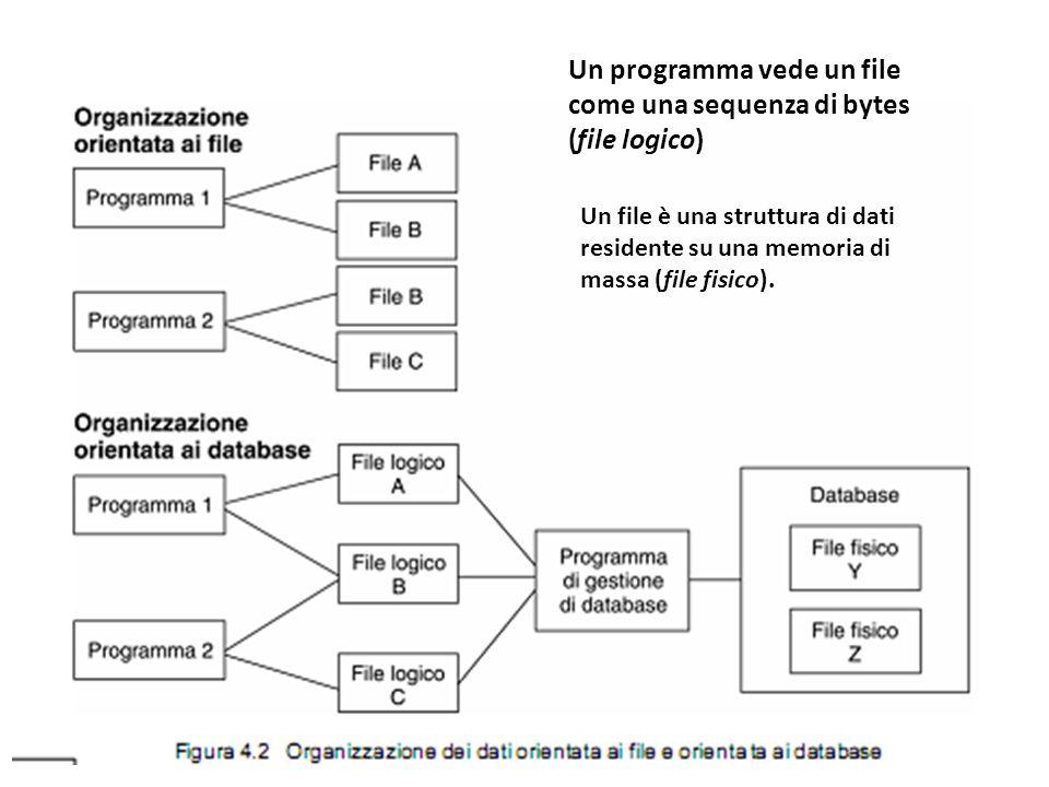 Un programma vede un file come una sequenza di bytes (file logico)