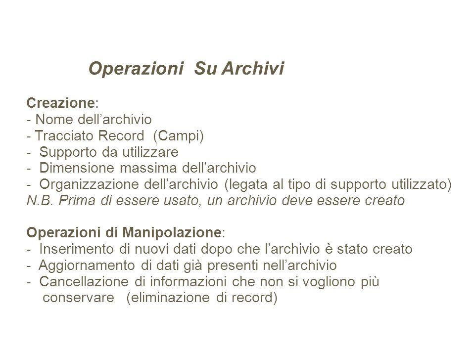 Operazioni Su Archivi Creazione: - Nome dell'archivio - Tracciato Record (Campi) - Supporto da utilizzare - Dimensione massima dell'archivio - Organizzazione dell'archivio (legata al tipo di supporto utilizzato) N.B.