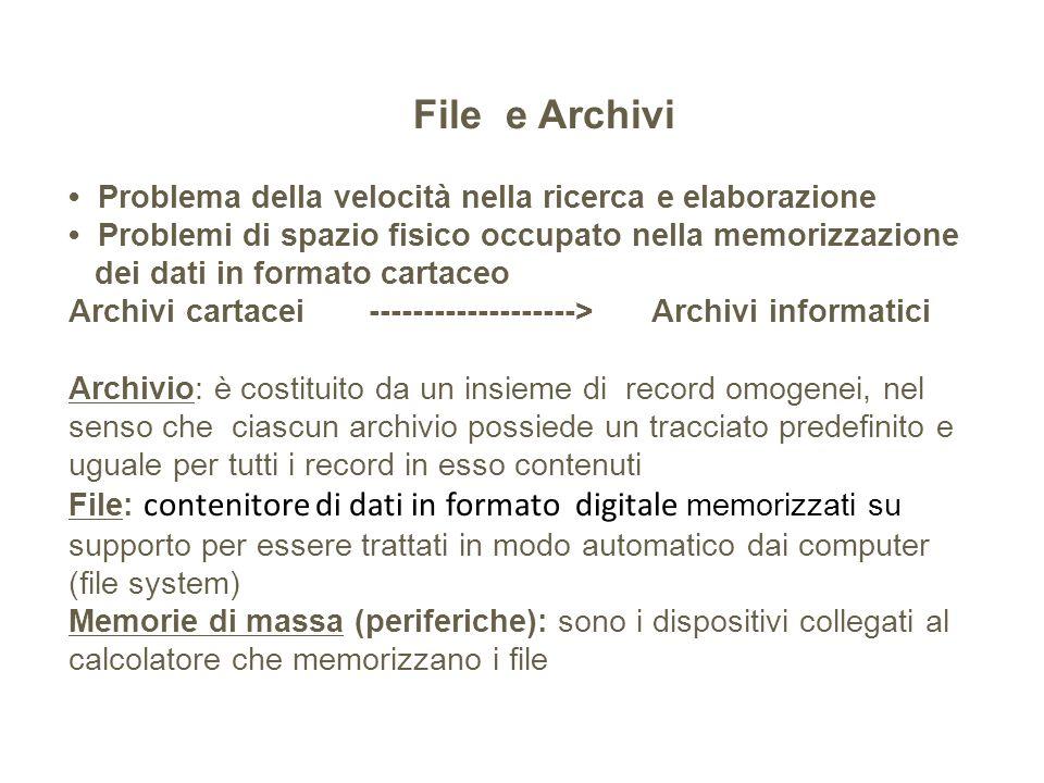 File e Archivi • Problema della velocità nella ricerca e elaborazione • Problemi di spazio fisico occupato nella memorizzazione dei dati in formato cartaceo Archivi cartacei -------------------> Archivi informatici Archivio: è costituito da un insieme di record omogenei, nel senso che ciascun archivio possiede un tracciato predefinito e uguale per tutti i record in esso contenuti File: contenitore di dati in formato digitale memorizzati su supporto per essere trattati in modo automatico dai computer (file system) Memorie di massa (periferiche): sono i dispositivi collegati al calcolatore che memorizzano i file