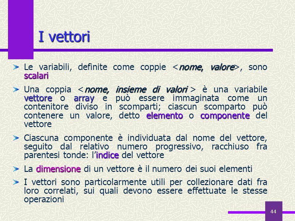 I vettori Le variabili, definite come coppie <nome, valore>, sono scalari.